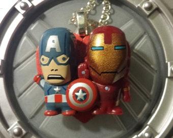 Captain America and Iron Man Stony Chibi Ship Necklace