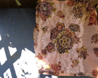 Vintage handmade decorated embellished scarf, chain stitch embroidery, faux pearls, rhinestones