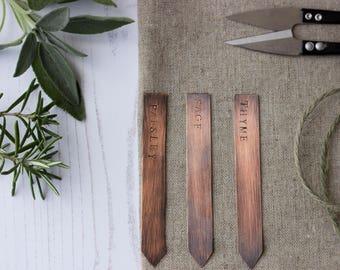 Set of 3 Rustic Copper Handstamped Herb Plant Tag Markers, Herb Labels, Gift for Gardener, Gift for Garden Lover