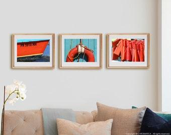 Coastal 3H1 Print Collection.  Detail photography, nautical, orange, blue, wall art, artwork, large format photo.