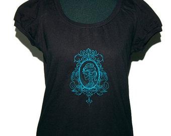 Gothic shirt - Cameo Lady skull - size L - black-petrol