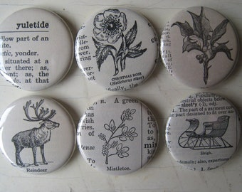 Christmas Vintage Dictionary Illustration Magnet Set of 6