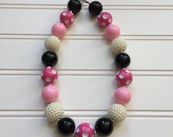 Minnie Mouse Necklace - Minnie Mouse Chunky Necklace - Disney Necklace - Minnie Mouse jewelry - Minnie Party Necklace