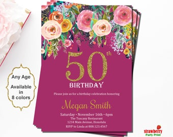 50th Birthday Invitations, Surprise Birthday Invitation, 50th Birthday Invitation for Women, Floral Birthday Invitation, Gold Glitter, A15