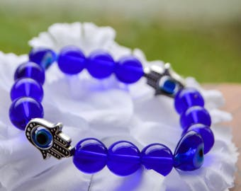 Blue Evil Eye and Hamsa Bracelet
