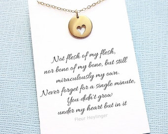 Adoption Gifts | Heart Necklace, Mother Daughter Gift, Step Daughter Gift, Stepdaughter, Adoption Gift, Gift for Daughter, Mom Gift | A06