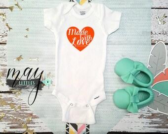 Made With Love Bodysuit - Valentines Baby Onesie - Valentines Bodysuit - Baby Shower Gifts -