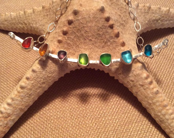 Rainbow Seaglass Statement Necklace