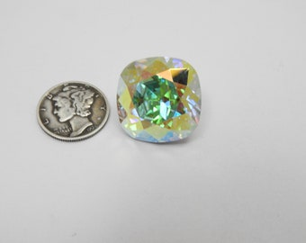 RARE Swarovski 4471 Crystal AB F 20MM Vintage Cushion Cut Stone