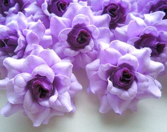 24 Purple mini Roses Heads - Artificial Silk Flower - 1.75 inches - Wholesale Lot - for Wedding Work, Make Hair clips, headbands