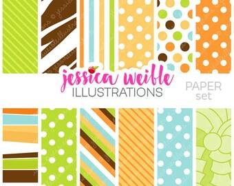 Safari Jungle Animals Cute Digital Backgrounds for Card Design, Scrapbooking, and Web Design