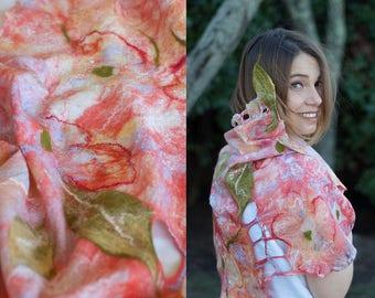 Cherry Blossom Nuno Felted Shawl Arty Scarf Ready To Ship