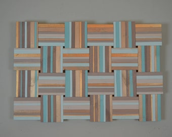 Wooden wall weave - SANTORINI DREAMS 36x24 - blue, gold, tan,  weave, home decor, modern art, zen art