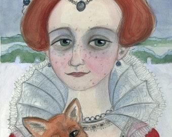 Winter Portrait, Seasons Illustration, Red Fox, Elizabethan Portrait, (6x8) Winter Snow