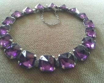 Vintage Leach and Miller Sterling Amethyst Glass Bracelet, L&M Purple Bracelet