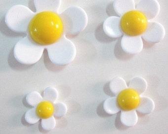 4 Piece Set of White Yellow Camellia Daisy Flower Cabochons - Kawaii Decoden Flatback Resin (TDK-C1581)