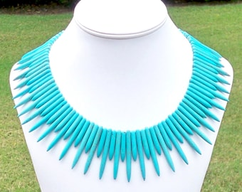 Turquoise Spike Necklace Turquoise Tribal Necklace Tribal Spike Necklace Tribal Statement Necklace Boho Necklace Bohemian Necklace Aqua