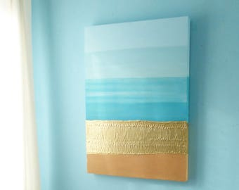 Turquoise, gold and sand beachscape painting on deep edge canvas