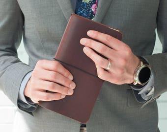 Traveler's Notebook - Harvard Brown - Traveler Journal - Midori Style - Journal - Planner - Leather - Notebook