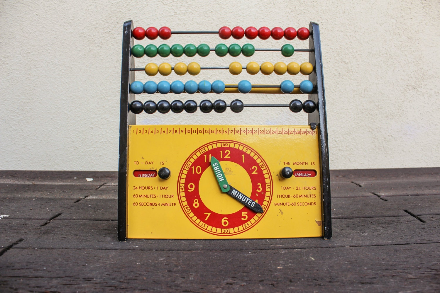 Vintage Mid Century Swedish 1960s Brio Abacus Clock and