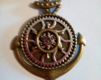 Antique bronze anchor pendant with cog of time and ships wheel on silk choker, ready to wear.