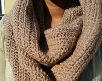 Brown Infinity Scarf, Taupe Infinity Scarf, Brown Scarf, Taupe Scarf, Brown Crochet Infinity Scarf, Brown Crochet Scarf, Brown Loop Scarf
