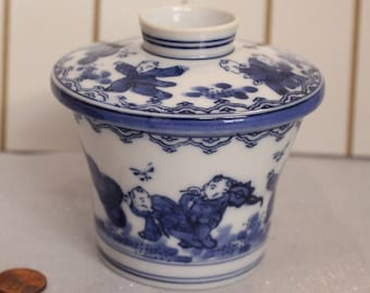 Unique Vintage Japanese Tea Cup, Blue and white Japanese Teacup with lid, Asian tea cup with Lid Signed