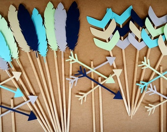 Boho Cupcake Toppers / 12 Count / Custom Colors You Choose / Tribal Baby Shower / Boho Decor / Boho Party / Wild One Birthday Decorations