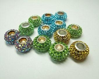 Large hole spacer beads, Rhinestone Inlaid Silver Rondelle Beads,European Charm,Pandora