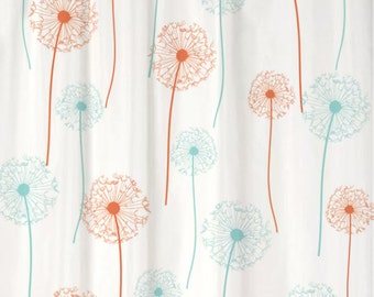 Dandelion Floral Shower Curtain You PICK COLORS Standard or Extra Long Length 70, 78, 84, or 96 Inch Lengths for Your Coral Aqua bathroom