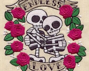 Endless Love Dia de los Muertos Skeleton Couple Embroidered Flour Sack Hand/Dish Towel