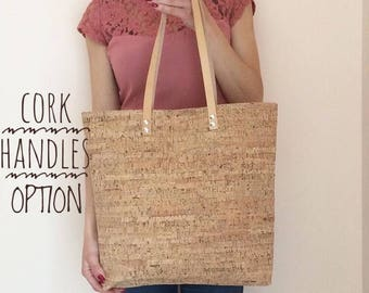 Vegan tote bag / cork bag / cork tote bag / vegan shopper bag / vegan leather tote / cork purse / vegan cork bag / minimalist tote bag