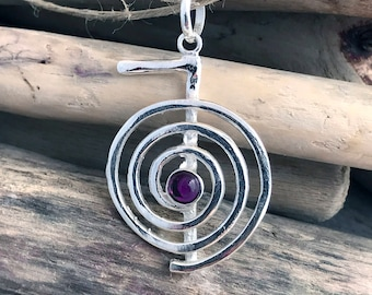 Sterling Silver  & Amethyst Reiki Choku Rei Energy Pendant Necklace- Yoga Pendant Necklace - Reiki Pendant Necklace VAR007