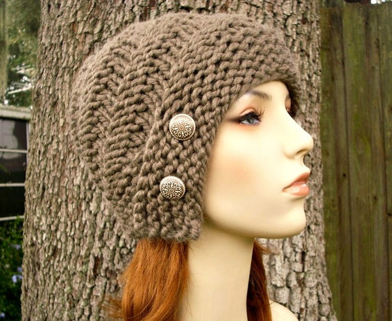 Taupe Womens Hat - Hybrid Swirl Cloche Hat in Brown Taupe Knit Hat - Taupe Hat Taupe Beanie Womens Accessories Winter Hat
