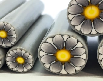 Large white and gray daisy cane, polymer clay cane, polymer clay daisy