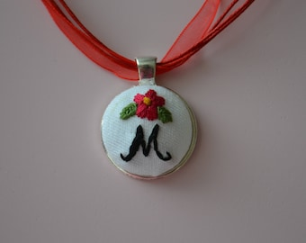 Initial Necklace. Hand Embroidered. Custom Initial Necklace. Monogrammed Necklace. Hand Stitched. Personalized Pendant. Pendant Necklace