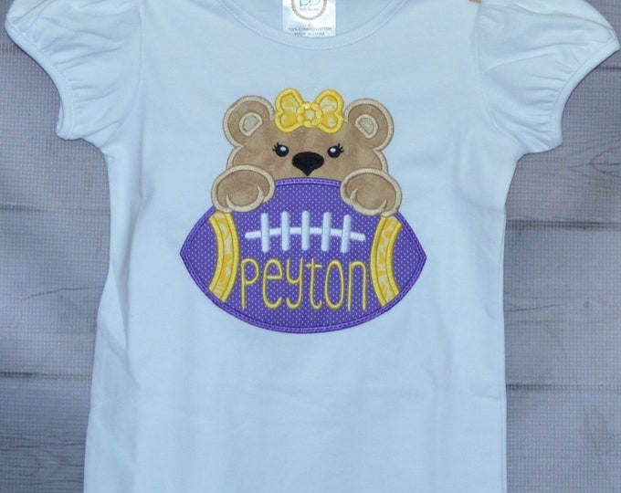 Featured listing image: Personalized Football Bear Face Applique Shirt or bodysuit