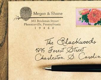 Owl Return Address Stamp, Custom Address Stamp, Halloween Address Stamps, Fall Address Stamp, Wood Mounted Stamps, Owl Stamp, Housewarming