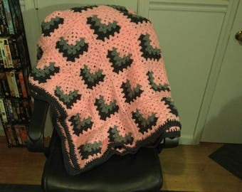 Large afghan Pink and Gray Granny Square