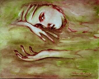 Press Art female Face awakening