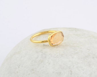 Champagne Quartz Ring, Champagne Quartz Faceted Gemstone Ring, 925 Sterling Silver Ring Gold plated Ring - #R2018
