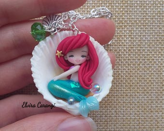 the little mermaid ariel necklace, disney jewels, doll, clay