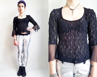 90s Clothing Lace Top Vintage 90s Black Top Witchy Top Goth Fashion The Craft 90s Goth Bell Sleeve Top Womens Size Small Medium