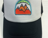 Toddler/Kids Trucker Hat- Neon 5 Mountain Patch- Black/...