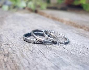 Midi Rings // Sterling silver upper knuckle, stacking rings. // Sterling midi ring.  Knuckle ring.
