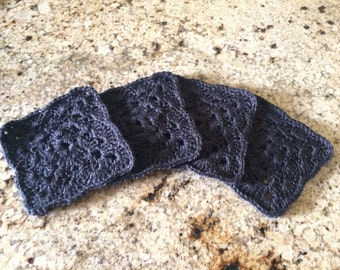 Crocheted Coasters - Charcoal Gray