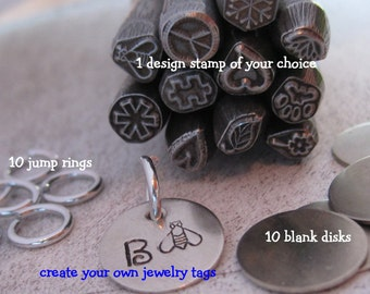 21 piece jEWELRY tAG kIT and dESIGN sTAMP - NICKEL SILVER - put a brand on your hand stamped jewelry - includes TUTORIAL for stamping metal