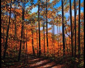 "Landscape Art Print - ""Autumn Path Study"", Limited Edition Giclee Print on Fine Art Paper of a winter snow scene, 12"" x 12"""