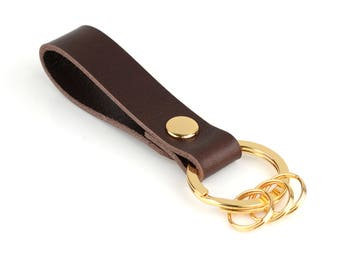 Richbud Leather Gold Keychain With 3 Detachable Rings