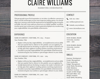 Minimal modern resume cv template word mac or pc resume cv template free cover letter instant download mac or pc for yelopaper Images